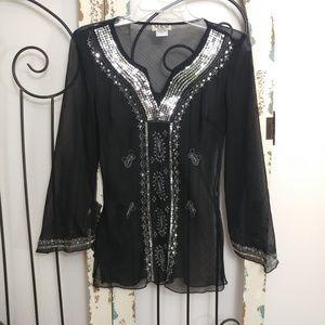 MSK black sheer sequin top small